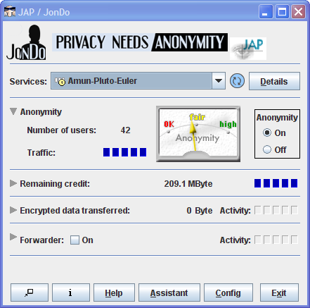 JAP/JonDo freeware screenshot